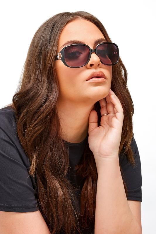 Black Oversized Gold Detail Sunglasses