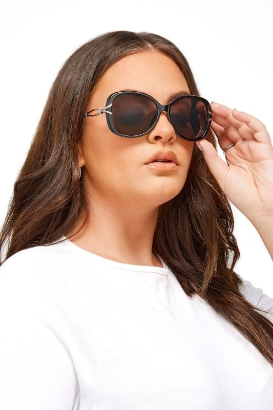 Plus Size Sunglasses Black Oversized Knot Sunglasses