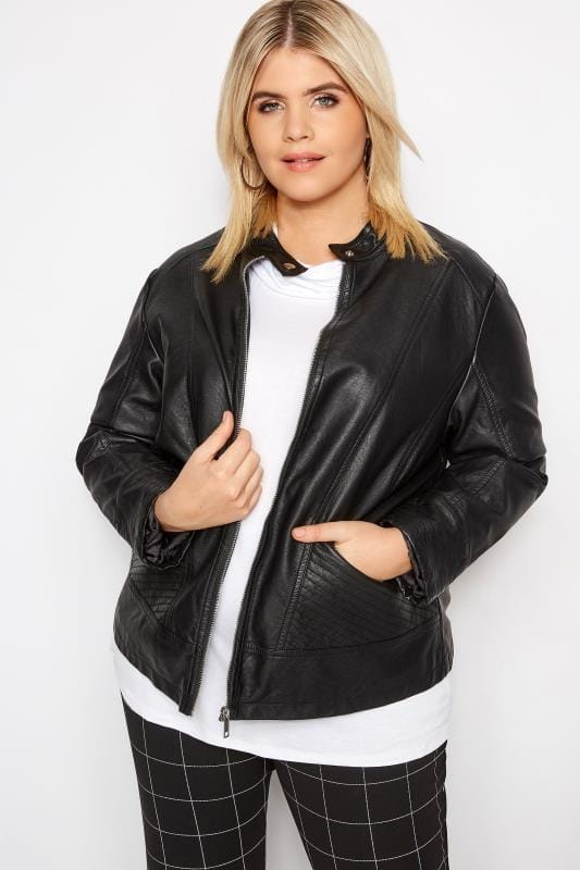 Leather Look Jackets dla puszystych Black PU Leather Jacket