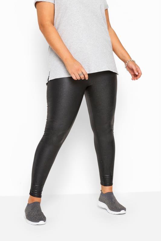 Black PU Leather Look Leggings