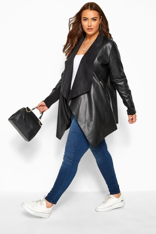Leather Look Jackets Grande Taille Black PU Leather Waterfall Jacket