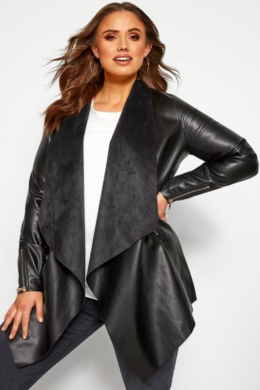 Plus-Größen Leather Look Jackets Black PU Leather Waterfall Jacket