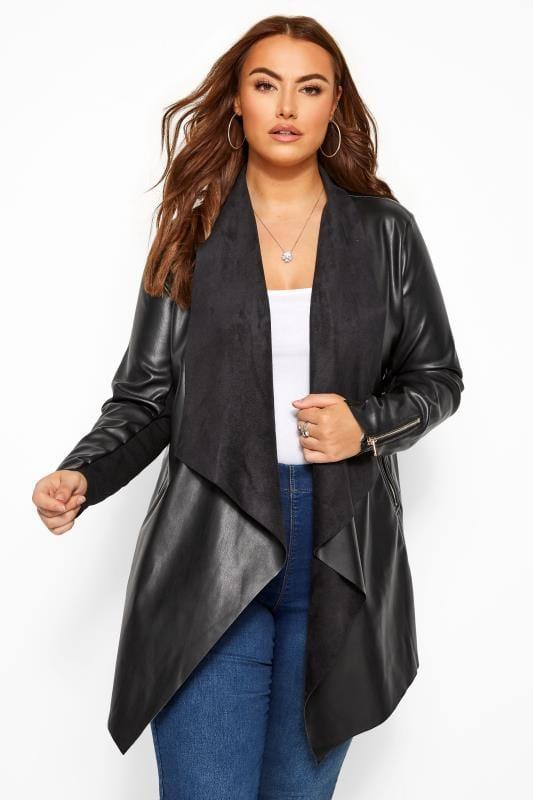 Black PU Leather Waterfall Jacket