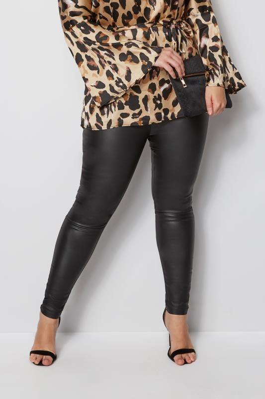 Modne legginsy dla puszystych Czarne błyszczące legginsy