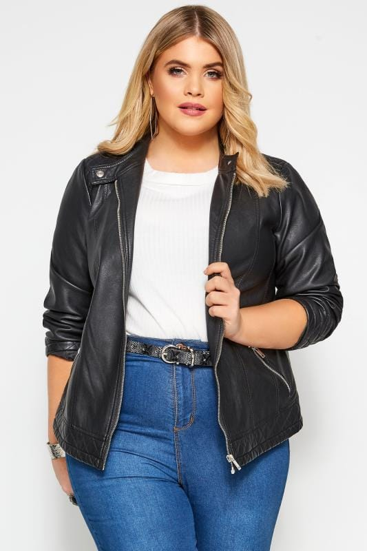 Black PU Zip Up Leather Jacket