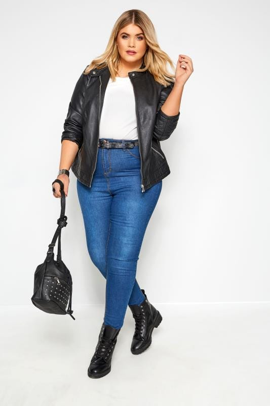 Plus Size Jackets Black PU Zip Up Leather Jacket