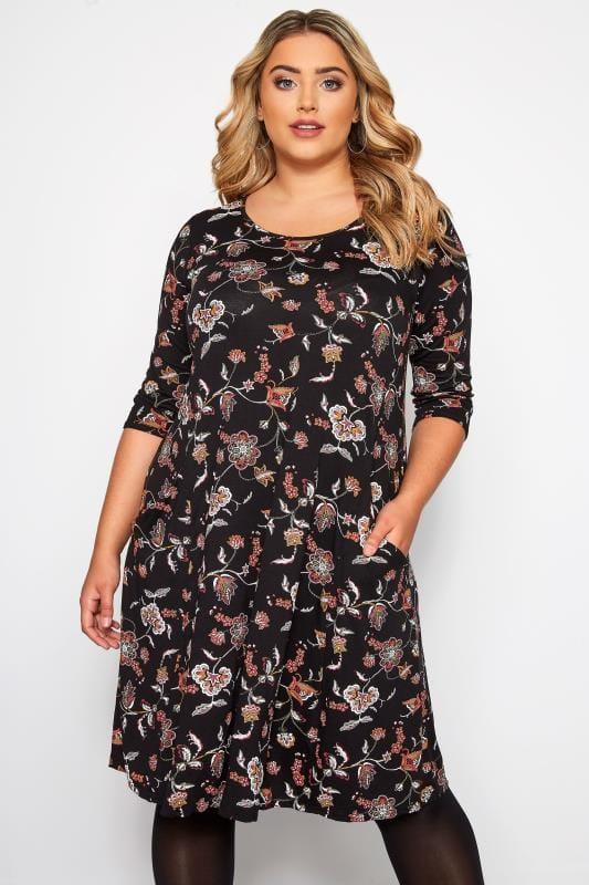 Большие размеры | Jersey Dresses Black Paisley Drape Pocket Dress