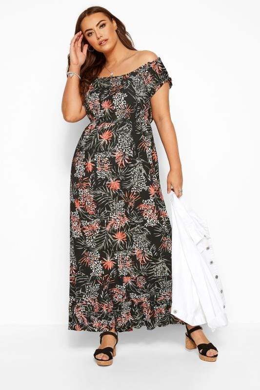 Black Palm & Animal Bardot Maxi Dress