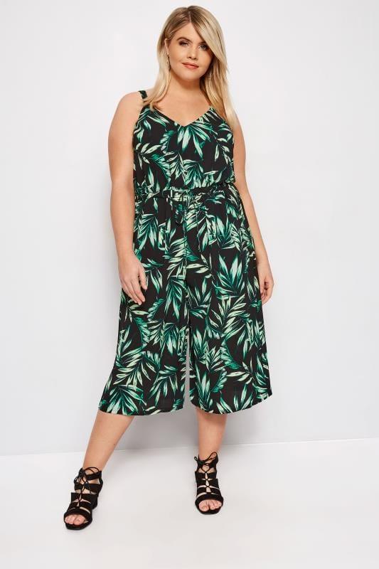 Black Palm Leaf Culotte Jumpsuit