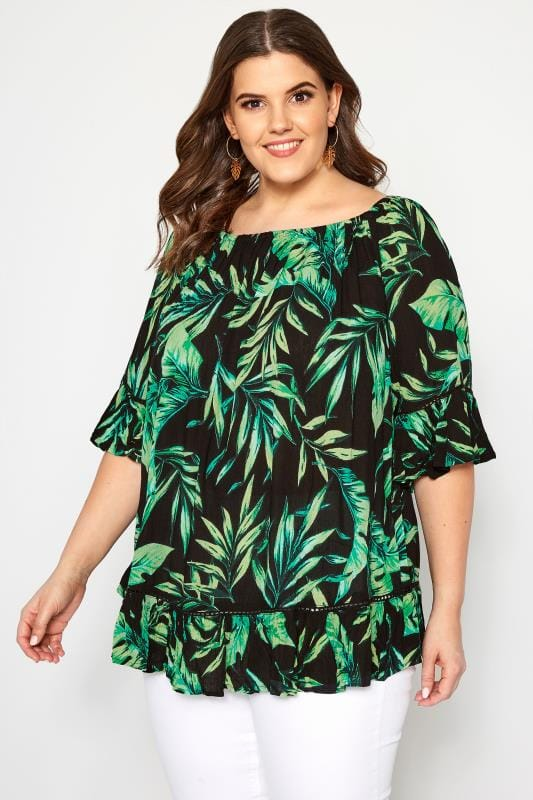 Plus Size Day Tops Black Palm Leaf Gypsy Bardot Top