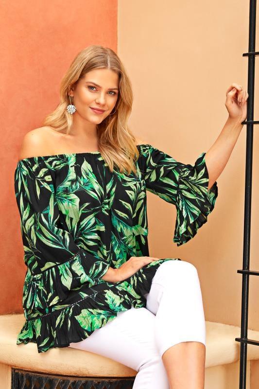 Black Palm Leaf Gypsy Bardot Top