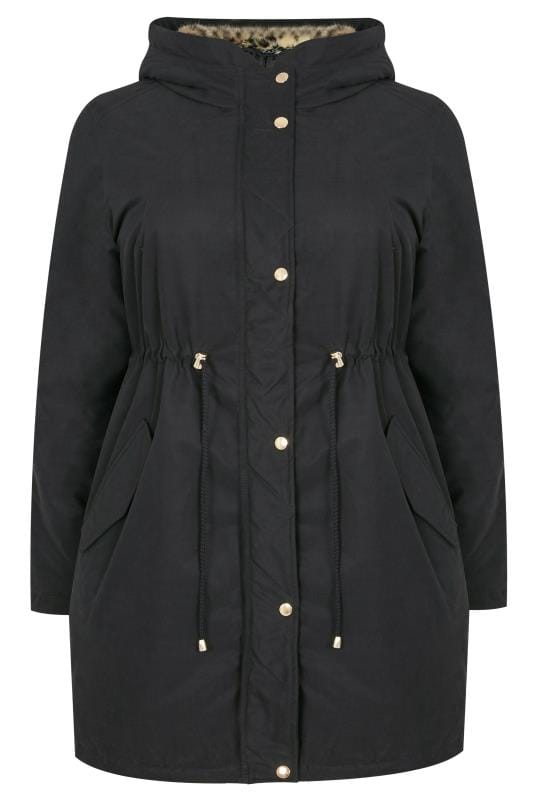 Black Parka Coat With Animal Print Faux Fur