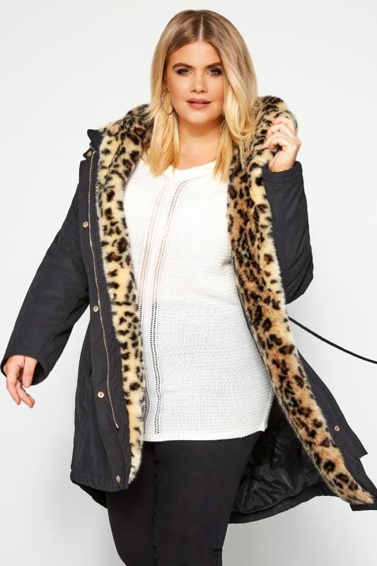 Plus Size Coats Black Parka Coat With Animal Print Faux Fur