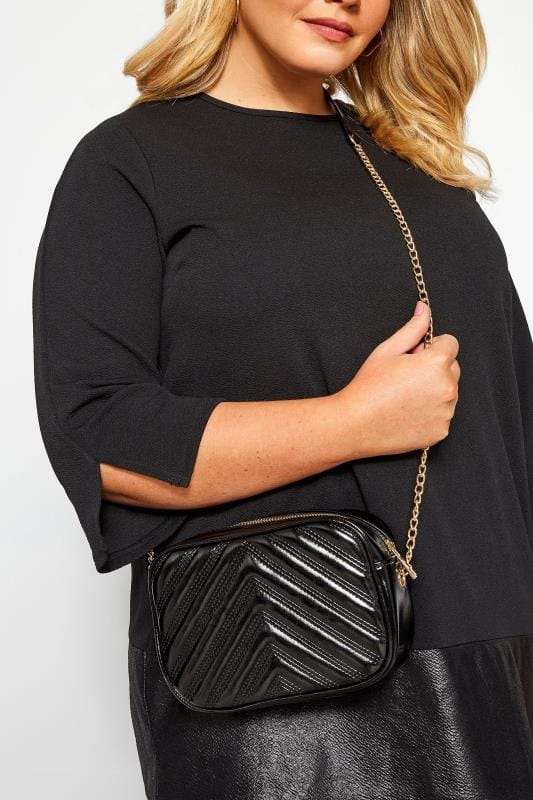 Cross Body Bags Black Patent Chevron Cross Body Bag