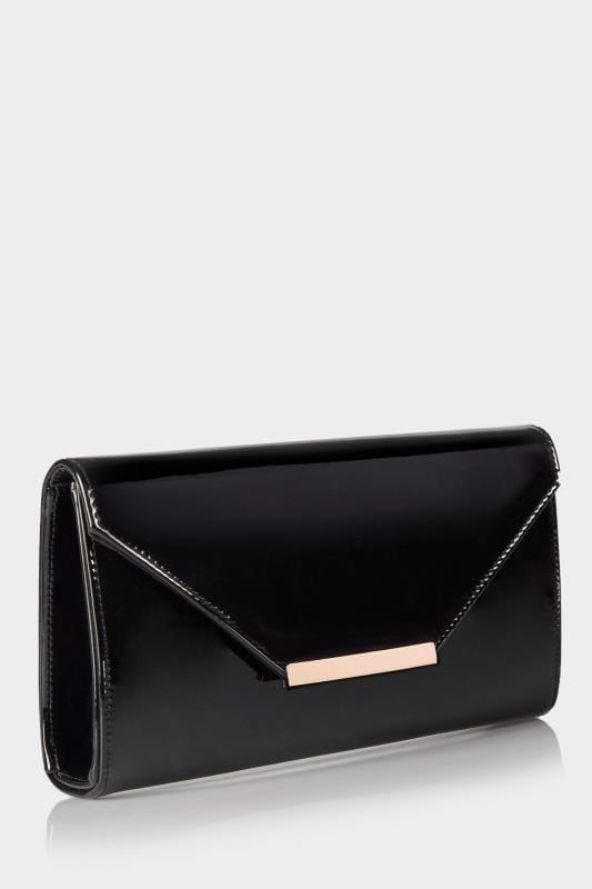 black leather clutch bag with shoulder strap