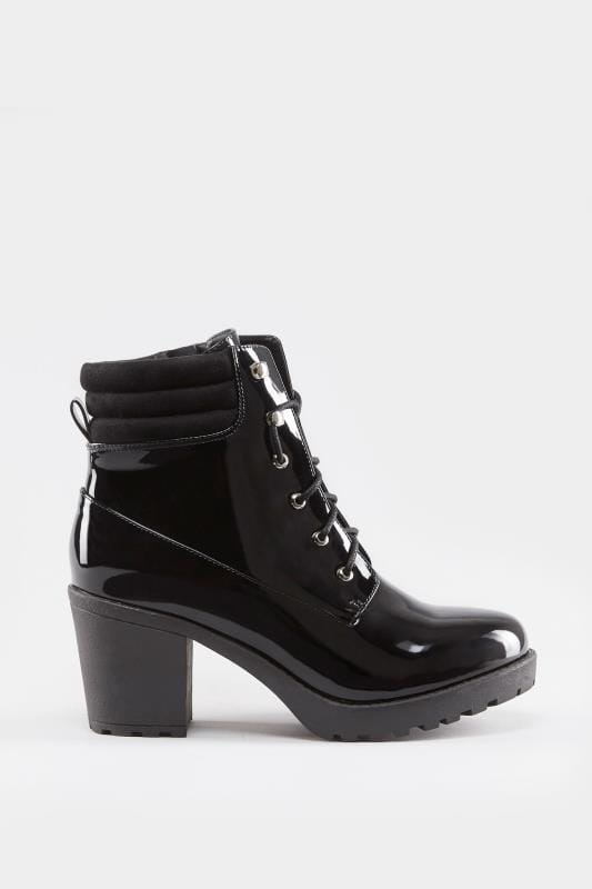 Black Patent Lace Up Heeled Ankle Boot In EEE Fit, Wide