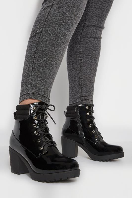 Black Patent Lace Up Heeled Ankle Boot In EEE Fit