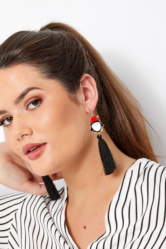Plus Size Jewellery Black Penguin Tasselled Earrings