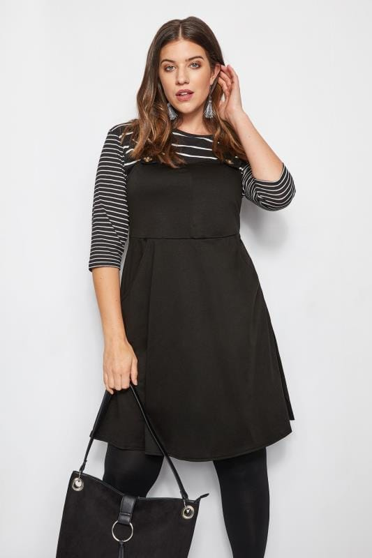 Plus Size Black Dresses Black Pinafore Dress