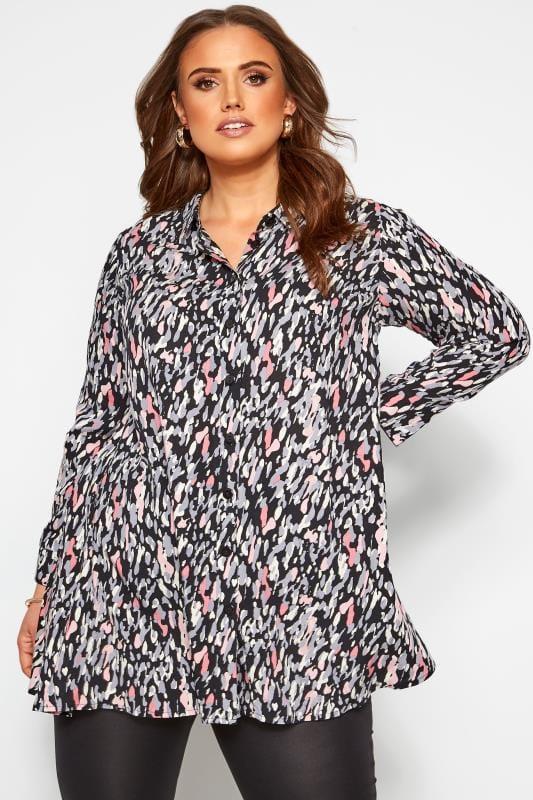 Plus-Größen Blusen & Hemden Hemd mit abstraktem Muster - Schwarz/Pink