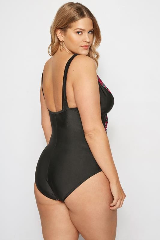 Black & Pink Abstract Swimsuit