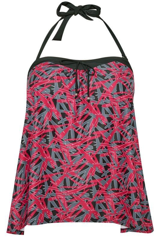 Black & Pink Abstract Tankini Top