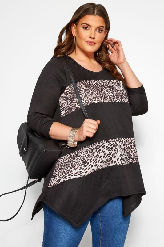 Knitted Tops Grande Taille Black & Pink Animal Colour Block Swing Top