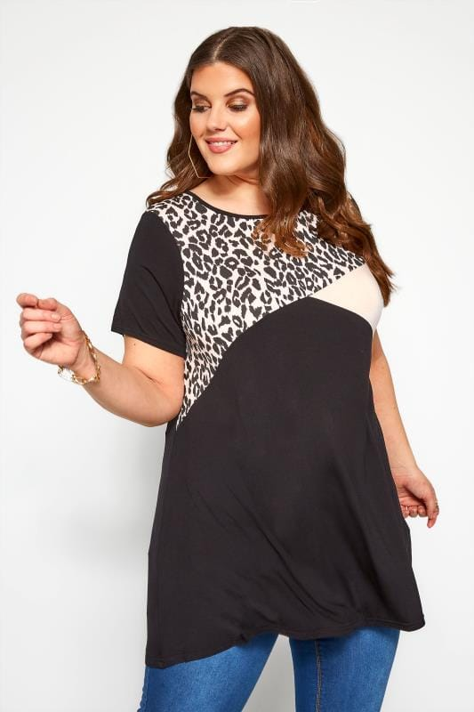 Plus Size Day Tops Black & Pink Animal Colour Block Swing Top