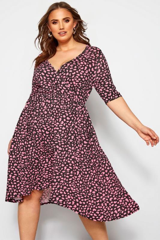 Plus Size Wrap Dresses Black & Pink Animal Wrap Dress