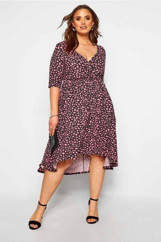 Black & Pink Animal Wrap Dress