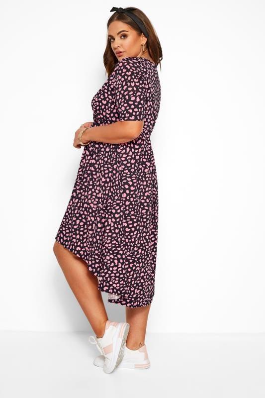 Black & Pink Animal Wrap Dress