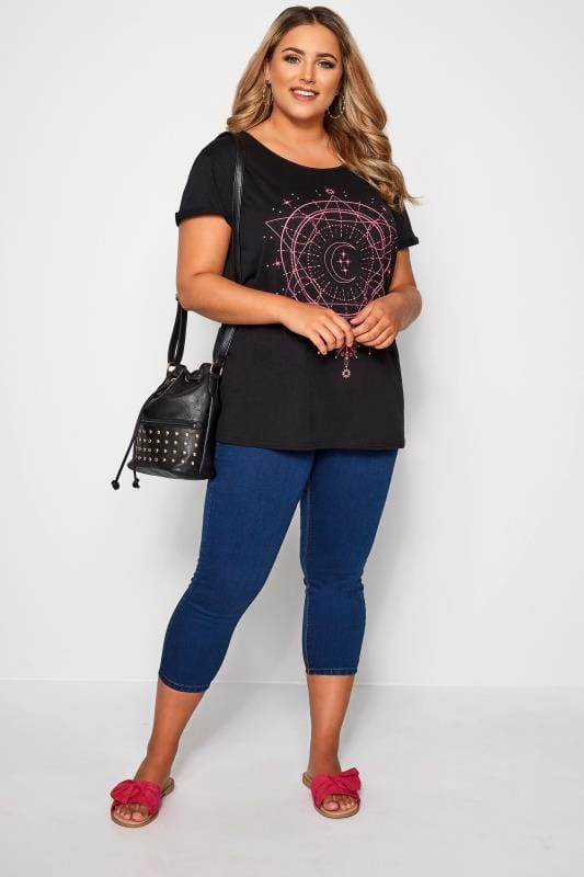 Black & Pink Astrology Print T-Shirt