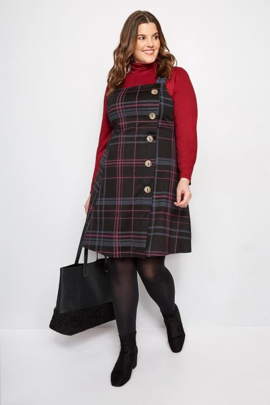 Black & Pink Check Button Pinafore Dress