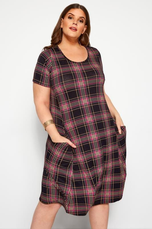 Plus Size Swing Dresses Black & Pink Check Drape Pocket Dress