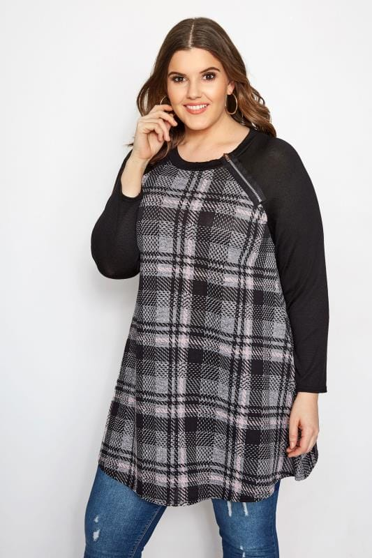 Plus Size Tunics Black & Pink Check Zip Tunic