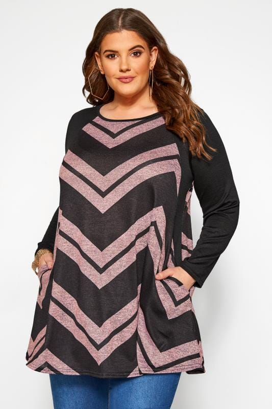 Große Größen Longshirts Black & Pink Chevron Print Longline Top