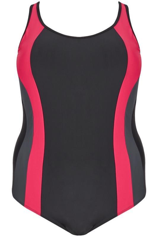 Black & Pink Contrast Contour Swimsuit