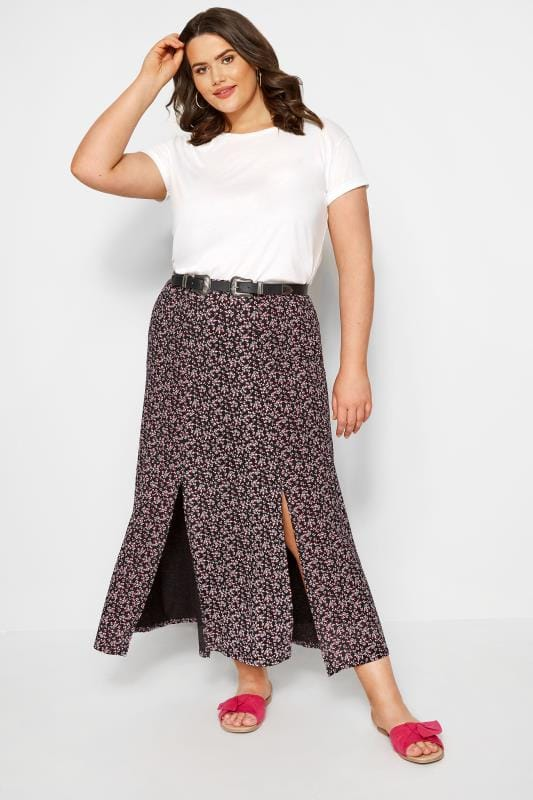 Black & Pink Ditsy Floral Maxi Skirt