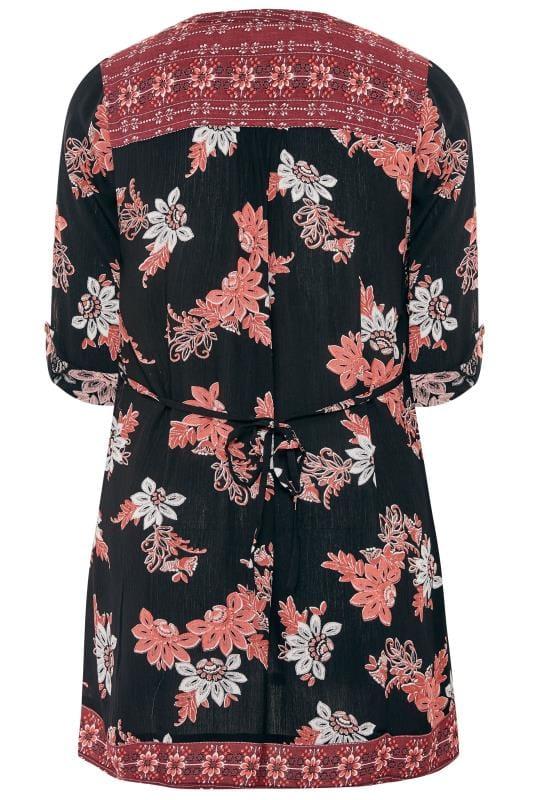 Black & Pink Embellished Floral Pintuck Shirt
