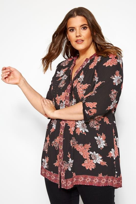 Plus Size Long Sleeve Tops Black & Pink Embellished Floral Pintuck Shirt