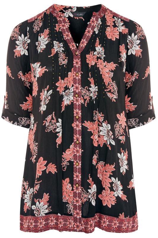 black pink embellished floral pintuck shirt yours clothing. Black Bedroom Furniture Sets. Home Design Ideas