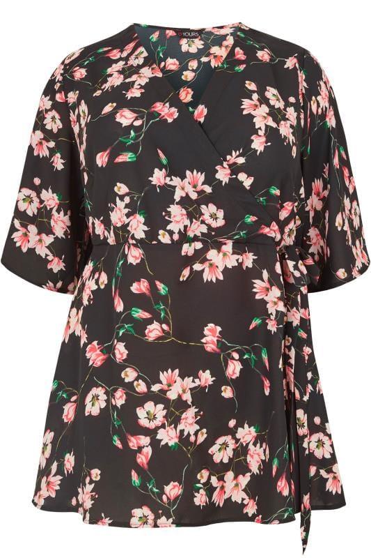 Black & Pink Floral Chiffon Wrap Top