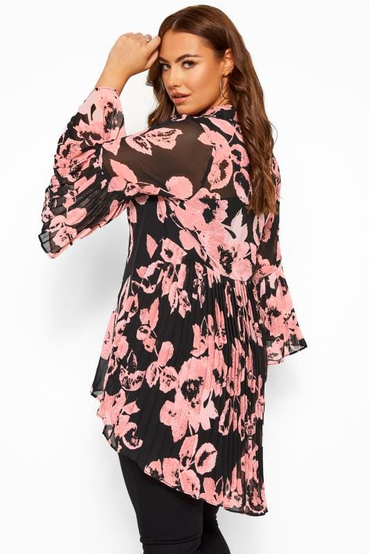 Black & Pink Floral Pleated Longline Shirt