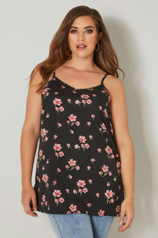 Black & Pink Floral Print Cami Top