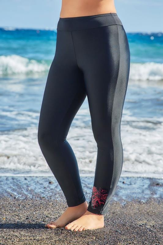 detailing complete in specifications purchase genuine Black & Pink Floral Print Swim Leggings, Plus size 16 to 32