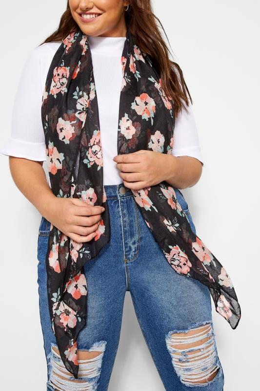 Plus Size Scarves Black & Pink Floral Scarf