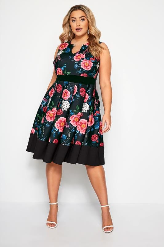 Plus Size Floral Dresses Black & Pink Floral Skater Dress