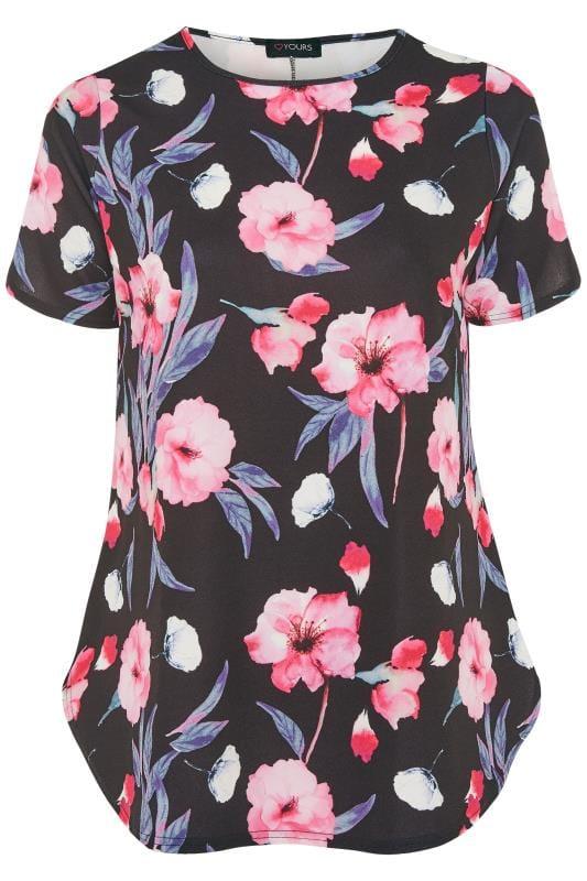 Black & Pink Floral Top