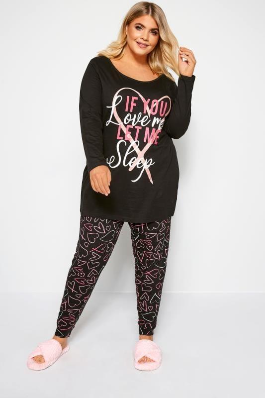 Большие размеры | Pyjamas Black Glitter Heart Slogan Pyjama Set