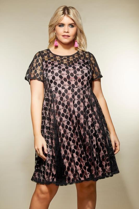 Black & Pink Lace Spot Skater Dress